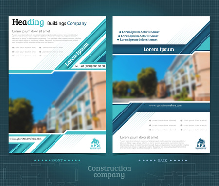 Two sided brochure or flyer template design with exterior blurred photo ellements. Mock-up cover in blue vector modern style