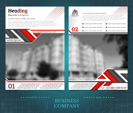 Two sided brochure or flayer template design with blurred color photo of buildings. Mock-up cover in black and red abstarct vector modern pattern style 向量圖像