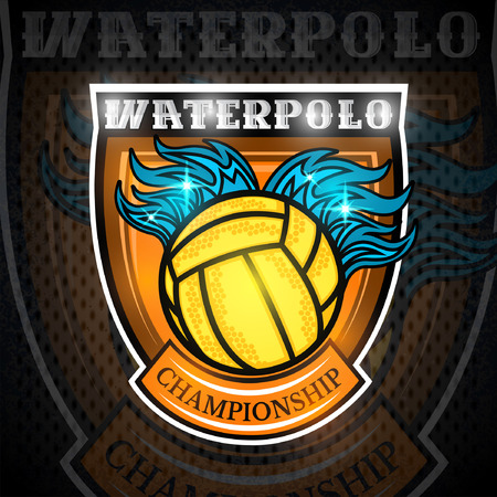 Water polo ball with water splash on top in center of shield. Vector sport emblem on blackboard for any team or competition