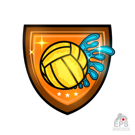 Water polo ball with water splash trail in center of shield. Vector sport emblem for any team or competition isolated on white Illustration