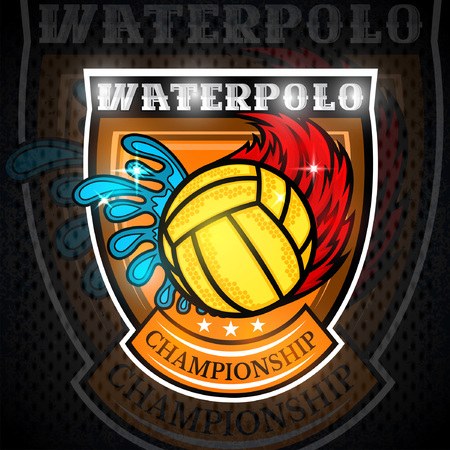 Water polo ball between water splash and fire trail in center of shield. Vector sport emblem on blackboard for any team or competition Illustration