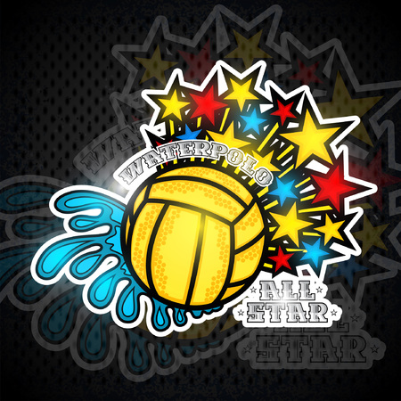 Water polo ball between water splash and flying out stars.Sport emblem for any team or competition all star Archivio Fotografico - 121946543