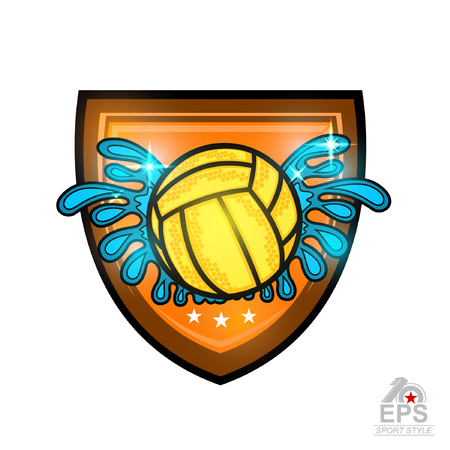 Water polo ball between water splash in center of shield.Sport emblem for any team or competition all star Illustration