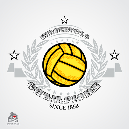 Water polo ball in center of silver wreath isolated on white. Illustration