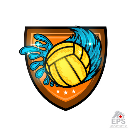 Water polo ball with water splash from one side and from other wind trail in center of shield. Vector sport design for any team or competition isolated on white Illustration