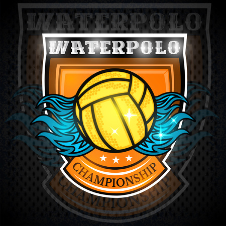 Water polo ball with water splash in center of shield. Vector sport design on blackboard for any team or competition