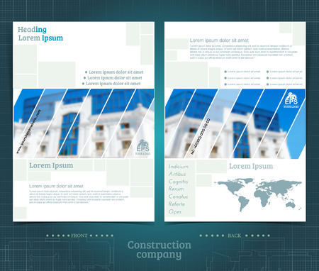 Two sided brochure or flayer template design with exterior building blurred color photo. Mock-up cover in blue vector modern style