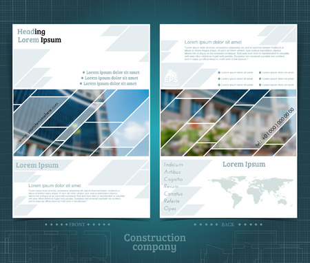 Two sided brochure or flayer template design with exterior building blurred photo elements. Mock-up cover in blue geometric vector modern style Vector Illustration