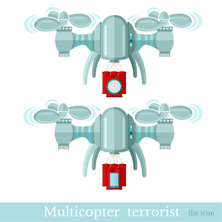 Two multicopter or quadcopter with bomb and dynamite for terrorist attack in flat style isolated on white Illustration