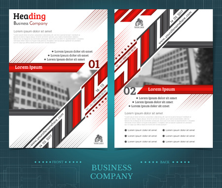 Two sided brochure or flayer template design with blurred photo of buildings. Mock-up cover in black and red vector modern style Illustration
