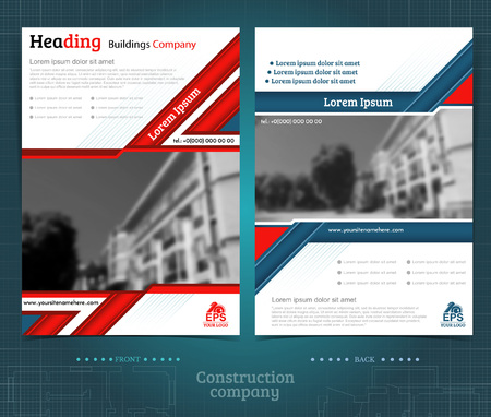Two sided brochure or flyer template design with exterior blurred photo ellements. Mock-up cover in blue and red vector modern style Çizim