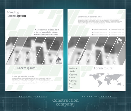 Two sided brochure or flayer template design with exterior building blurred black-white photo. Mock-up cover vector modern style