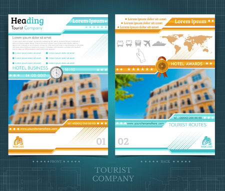 Two sided brochure or flayer template design with exterior blurred color photo elements. Mock-up cover in blue and orange vector modern style