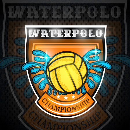 Water polo ball between water splash in center of shield.Sport emblem on blackboard for any team or competition