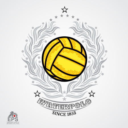 Water polo yellow ball in center of silver laurel wreath isolated on white. Sport emblem design for any team or competition