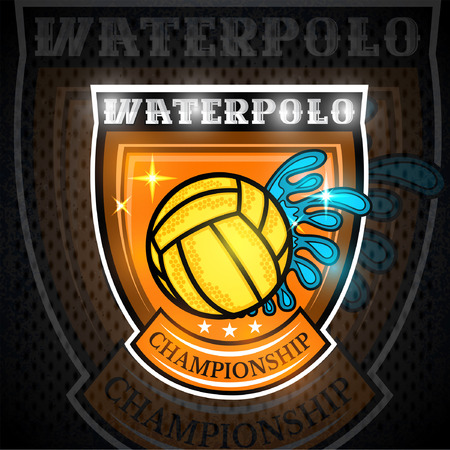 Water polo yellow ball with water splash in center of shield. Sport emblem design for any team or competition Vectores