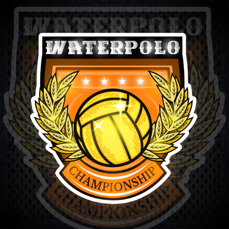 Waterpolo ball in the middle of gold wreath in center of shield. Sport emblem design for any team or competition