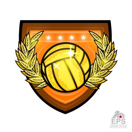 Waterpolo ball in the middle of gold wreath in center of shield. Illustration