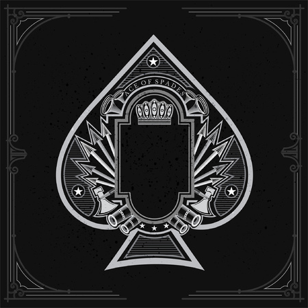 Vintage weapon and arrows with frame in the middle of ace of spades form. Military design playing card element white on black Иллюстрация