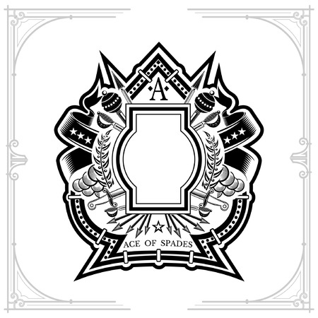Vintage weapon and frame with wreath in the middle of ace of spades form. Military design playing card element or print isolated on white