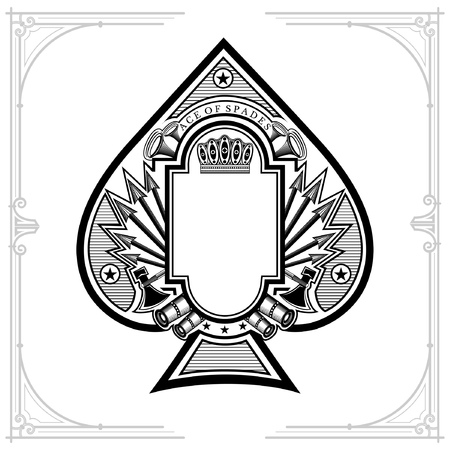 Vintage weapon and arrows with frame in the middle of ace of spades form. Military design playing card element black on white