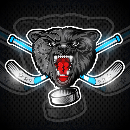 Beast wolf face from the front view with hockey puck and crossed stick. Sport emblem design for any team or competition