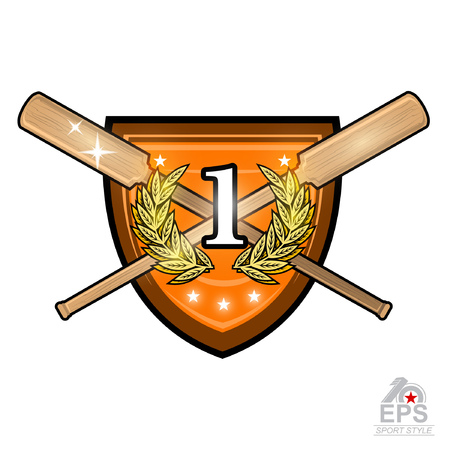 Vintage wood crossed oars for rowing with number one in the middle of golden laurel wreath on the shield on white. Sport emblem design for any team or competition Ilustração