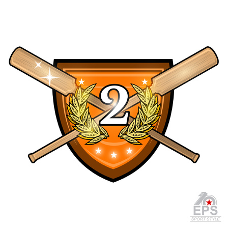 Vintage wood crossed oars for rowing with number two in the middle of golden laurel wreath on the shield on white. Ilustração