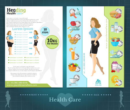 Two sided brochure or flayer template design with loss weight and health care. Mock-up cover vector modern flat style