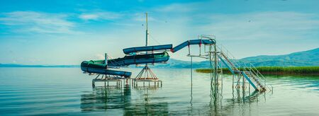 North macedonia. Ohrid. Water slide in water of ohrid lake color.