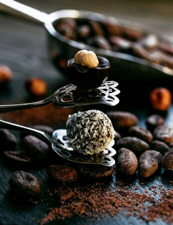 Coconut and chocolate candies stand on opendessert tongs beside bulk measuring scoop with cocoa beans. Candy on black stone stand.