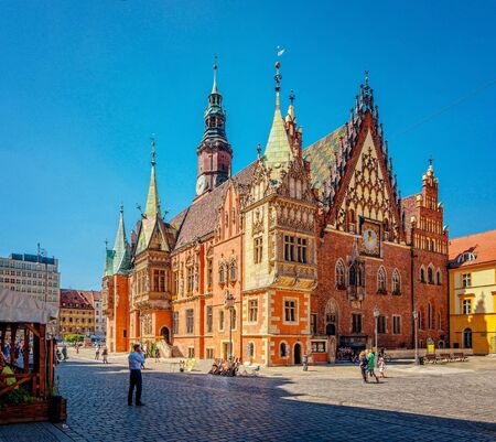 WROCLAW,POLAND. Central Market Squar with Gothic Old Town Hall In Sunny Day. Wroclaw town hall in sunny day. Rathaus.