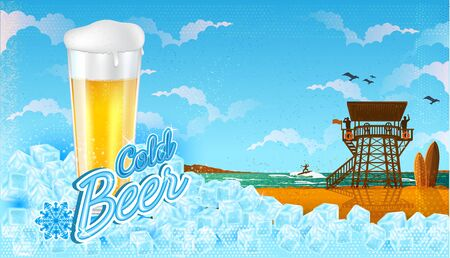 Glass of beer in ice cubes with miami beach landscape with blue sky.