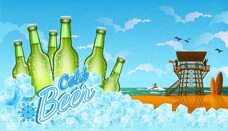 Six bottles of beer in ice cubes with beach landscape. Ilustração