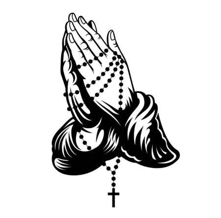 Praying hands with cross on chain around hands. Vector illustration.