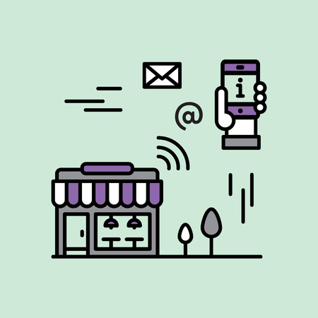 Proximity Marketing, Public Hotspot Zone Wireless Internet WiFi Free. Sending messages, information and offers to users. Mobile phone notifications. Simple modern vector icon style illustration Vektoros illusztráció
