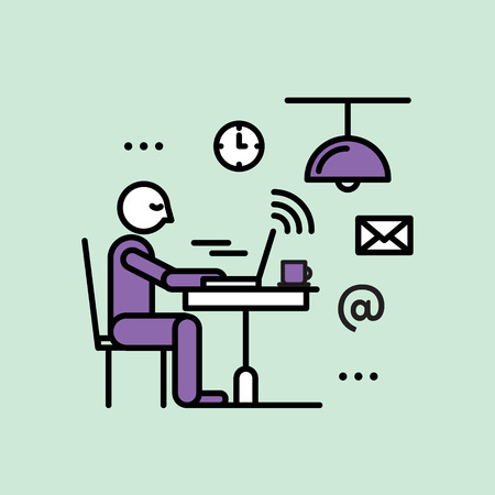 hotspot: Public Hot-spot Zone Wireless Internet WiFi Free. Connection and Interacting. Man in a cafe using WiFi Vector Icon Style Illustration. Personal Devices and WiFi Illustration