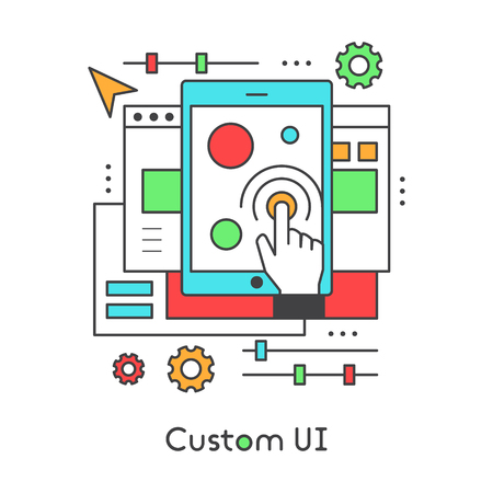 UI UX Custom Design Developing User experience, User Interface Settings, Modern Vector Icon Style Illustration