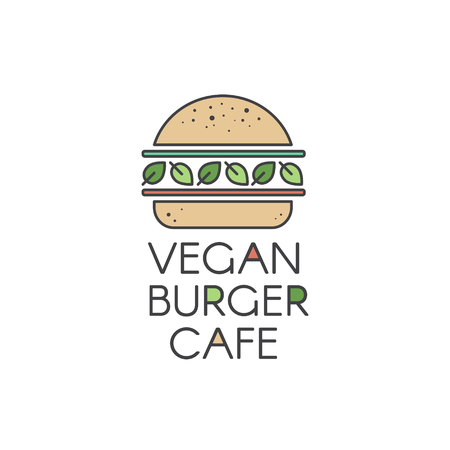 Vector Flat Icon Style Illustration for Vegan or Vegetarian Burger Grill Cafe or Restaurant, Vegan Burger with Fresh Salad and Organic Vegetables