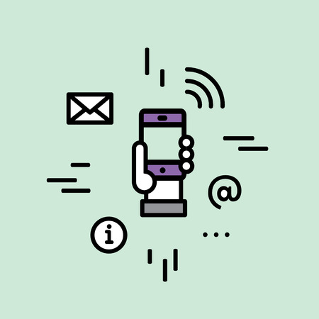 wireless connection: Vector Icon Style Illustration with Wireless Mobile Internet Connection, Human Hand Using WiFi, Sending Messages, Getting Information, Notifications and Offers