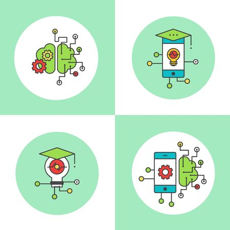 Smart Mobile Application Data Mining Developing Settings Icon Set. Modern clean vector illustration Ilustrace
