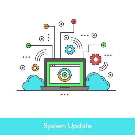 Isolated Vector Icon Stye Illustration of Computer System Data Update or Synchronize with Process, Replacing with New Software Illustration