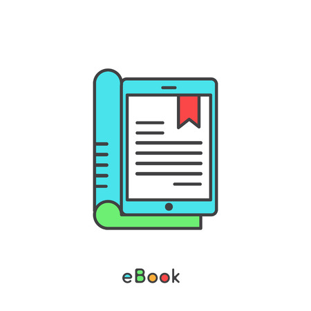 audio book: Audio Book and Electronic Reader with Bookmark Vector Simple Icon Illustration