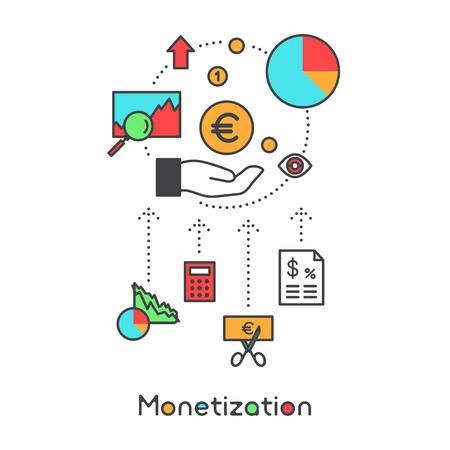 Monetization Process, New Revenue Streams Analytics Intelligent Realtime Data Merchant Portal, Vector Icon Style Illustration Illustration