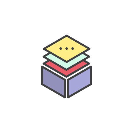 Vector Simple Icon Style Illustration Layered Stacks Showing Working Progress, Level Indicator Symbol Multi Platform