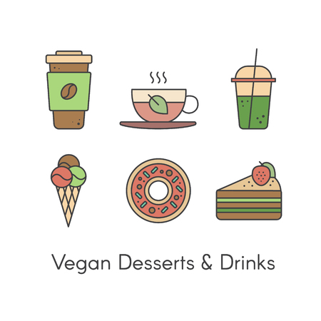 cappucino: Vector Simple Icon Style Illustration Set with Desserts and Beverages including Fresh Coffee, Hot Green Organic Tea, Green Smoothie, Vegan Ice Cream, Sweet Donut and Piece of Cake with Strawberry Illustration