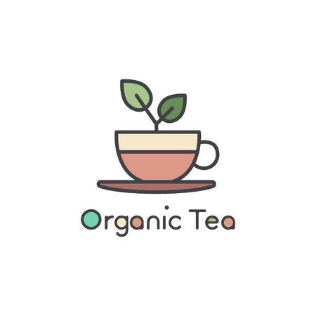 Vector Flat Icon Style Illustration  for Organic Green tea Shop for Healthy Lifestyle. Cup of Organic gGreen Tea and Fresh Green Leafs