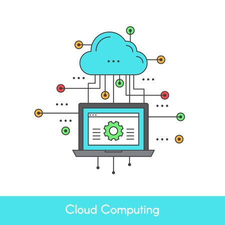 Vector Simple Icon Style Illustration of Cloud Computing Concept Design. Device Connected to the Cloud. Laptop with settings and wireless connection