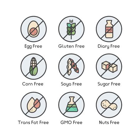 Isolated Vector Style Illustration Set Badge Ingredient Warning Label Icons. Allergens Gluten, Lactose, Soy, Corn, Diary, Milk, Sugar, Trans Fat. Vegetarian and Organic symbols. Food Intolerance Ilustração