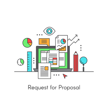 bidding: Vector Icon Style Illustration of RFP Request for Proposal, Editable Image with Documents, Computer, Barchart, Eye, Statistics, Monitoring